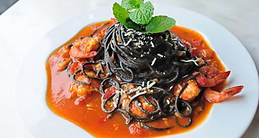 Squid Ink Spaghetti with spicy shrimps in Port Douglas, Australia