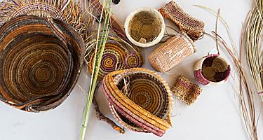 Traditional baskets weaved by natives in Port Douglas, Australia