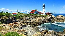 View of the Portland Head lighthouse in Portland, Maine