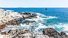 A rocky coast in Portland, Maine