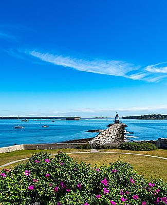 Panoramic view of the Portland, Maine coast and the Spring Point Ledge lighthouse
