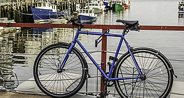 A bicycle locked to a railing at a harbor in Portland, Maine