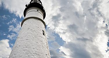 A close up view of the Portland Head lighthouse