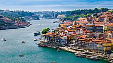 Panoramic view of Old Porto city and Ribeira over Douro river in Porto, Portugal