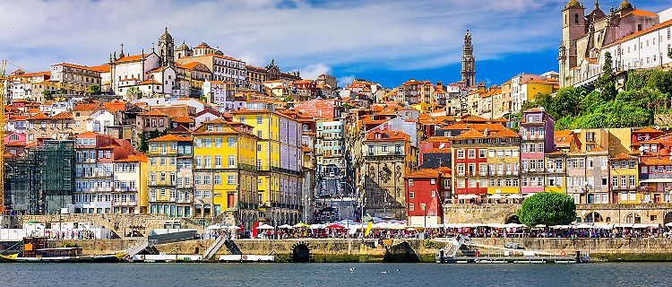 Old town skyline of Porto, Portugal, from across the Duori River