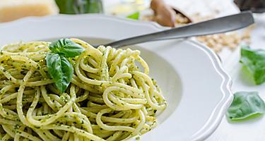 Pesto alla genovese, Ligurian style pesto spaghetti with basil, in an eatery in Portofino, Italy