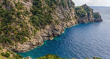 Small bay in the natural marine reserve, cala dell'oro, in Portofino, Italy