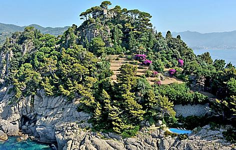 Promontory in Portofino regional park overlooking the Mediterranean Sea, in Portofino, Italy