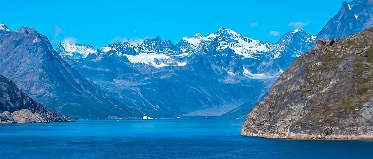 The picturesque landscape in Prins Christian Sund, Greenland