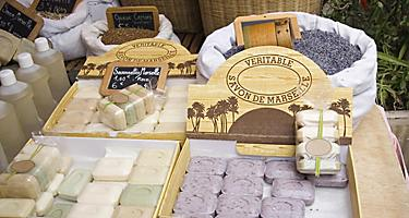 Famous soap from Marseille, France for sale at a market