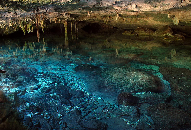 Cave with Beautiful Ocean Water in Costa Maya's Cenote Azul