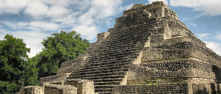 A Mayan pyramid deep in the jungle of the Yucatan Peninsula.