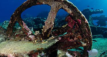 remains of the 19th century Ginger soul shipwreck at Chinchorro bank on the Caribben sea, Mexico