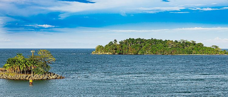 Two islands in front of the port of Puerto Limon, Costa Rica