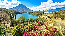 View of Agua volcano from lake Atlitlan near Port Quetzal, Guatemala