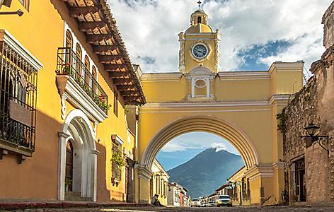 Santa Catalina Arch and Agua Volcano by Port Quetzal, Guatemala