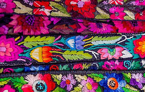 Traditional Mayan textiles on a market in Port Quetzal, Guatemala