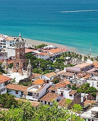 Panoramic view of downtown Puerto Vallarta, Mexico