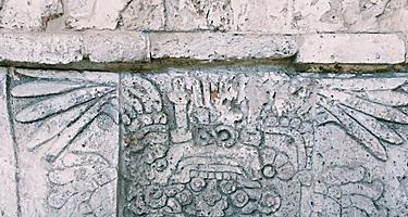 Ancient relief art on pyramid in Puerto Vallarta, Mexico
