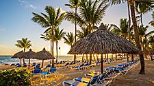 Tanning Chairs lined up along the beach during sunset in Punta Cana, Dominican Republic