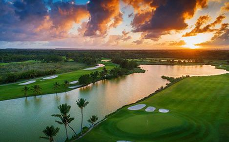 Sunset on the golf courses of Punta Cana, Dominican Republic