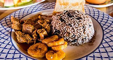 Ethnic tropical cuisine, gallo pinto with rice and beans in Puntarenas, Costa Rica