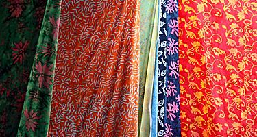 Colorful souvenir batiks in Puntarenas, Costa Rica