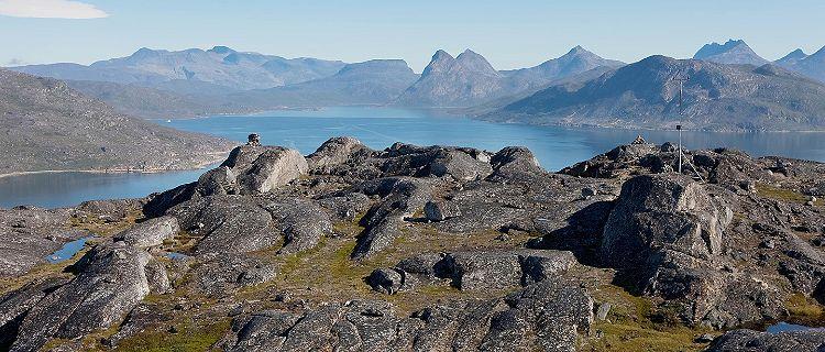 The rocky tundra in Qaqortoq, Greenland