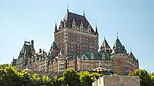 View of the entire Chateau Frontenac castle in Quebec City, Quebec