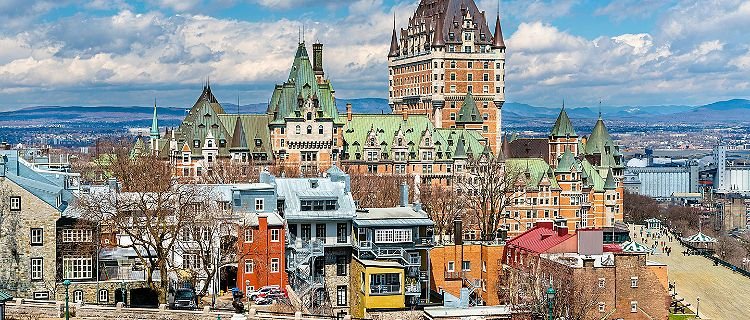 View of the Chateau Frontenac and the surrounding buildings