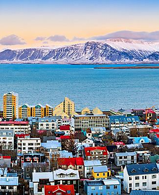 Aerial view of Reykjavik, Iceland with mountains in the background