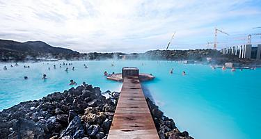 People enjoying the Blue Lagoon geothermal spa in Reykjavik, Iceland