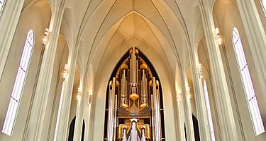 View of the organ inside a cathedral in Reykjavik, Iceland