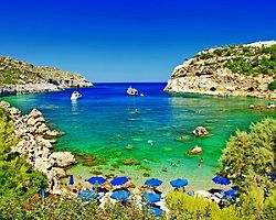 A secluded beach in Rhodes, Greece