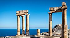 Ancient columns at Lindos in Rhodes, Greece