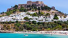 View of Lindos Castle above the town