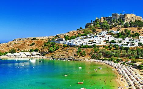 View of Lindos Bay in Greece
