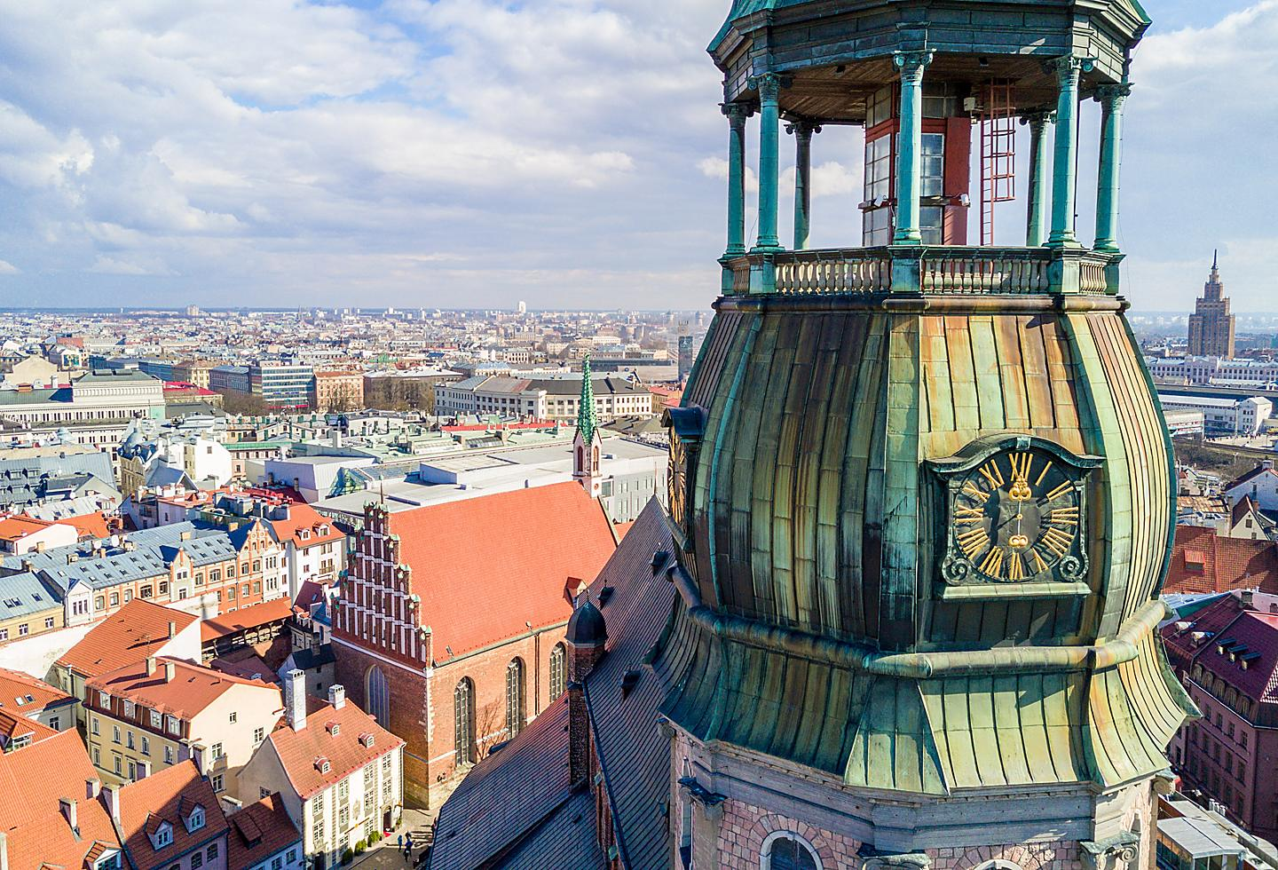 Latvia Riga St. Peter's Church Watch Tower