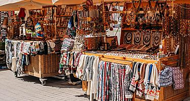 A street market in Riga, Latvia selling many different items
