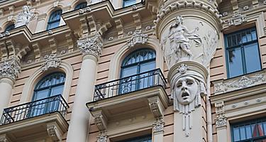 The side of a building that displays art nouveau architecture in Riga, Latvia