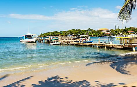 Pier with water taxis at the West End Village,  Roatan, Honduras