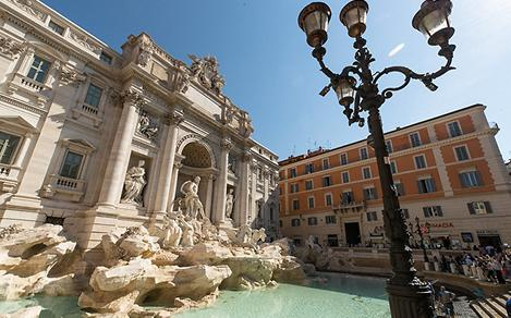 Italy Rome Historic Building and Fountain