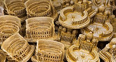 Minitature models of the Colosseum and Vatican