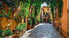 A narrow street in Rome, Italy