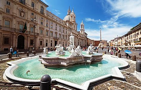 A fountain in Piazza Navona  in Italy