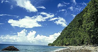 Pebbles lining the shore of Champagne Beach, Roseau, Dominica