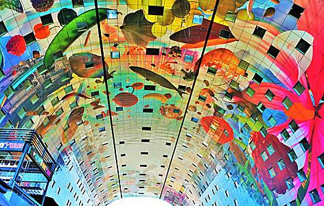 The colorful painted arch of the Markthal