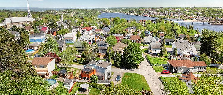 Aerial view of Saguenay City and river during Summer, in Saguenay, Quebec