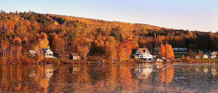 A fall landscape with waterfront homes and trees in Saint John, New Brunswick