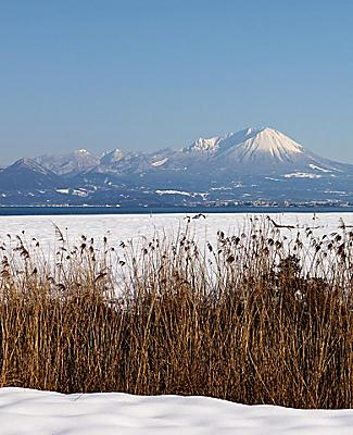 View of Mount Daisen from a snowfield in Sakaiminato, Japan
